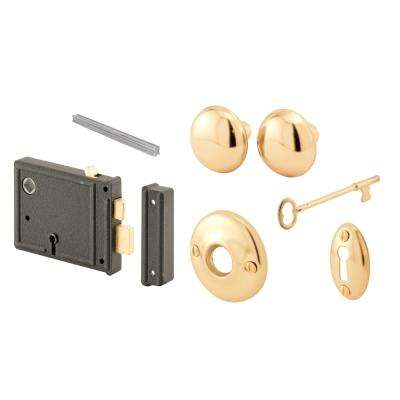 Horizontal Bit Key Lock Set with Brass Knobs