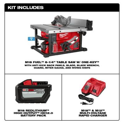 M18 FUEL ONE-KEY 18-Volt Lithium-Ion Brushless Cordless 8-1/4 in. Table Saw Kit W/ (1) 12.0Ah Battery & Rapid Charger