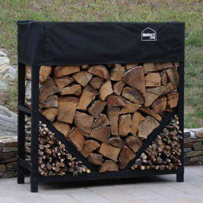 4 ft. Firewood Log Rack with Kindling Wood Holder and Waterproof Cover - Straight Sides