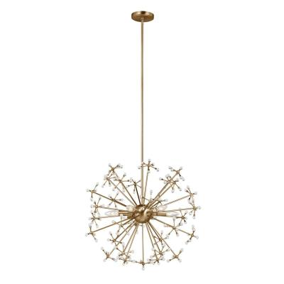 Davi 6-Light Satin Bronze Starburst Pendant with Dimmable Candelabra LED Bulb