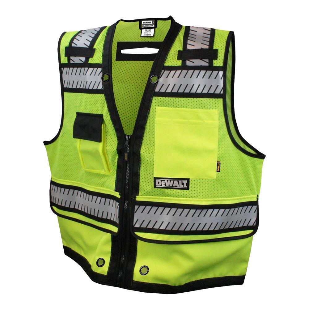 Large High Visibility Green Heavy Duty Surveyor Vest