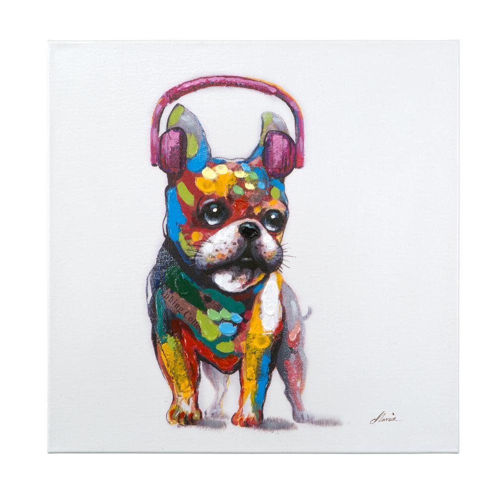 "24 in. H x 24 in. W ""Dog Beats II"" Artwork in Acrylic Canvas Wall Art"