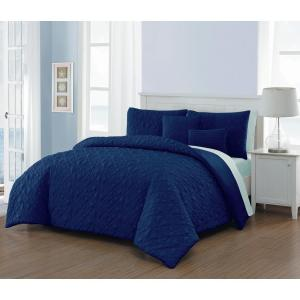 Del Ray 9-Piece Navy and Light Blue King Comforter Set
