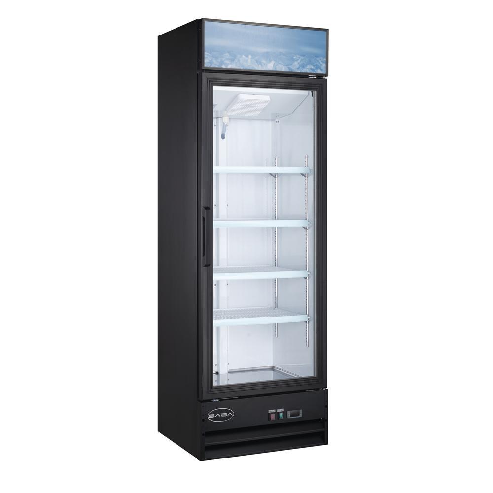 SABA 25 in. W 13 cu. ft. One Glass Door Merchandiser Commercial Reach In Upright Refrigerator Cooler  in Black