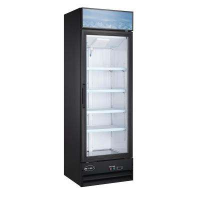 25 in. W 13 cu. ft. One Glass Door Merchandiser Commercial Reach In Upright Refrigerator Cooler  in Black