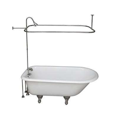 4.5 ft. Cast Iron Ball and Claw Feet Roll Top Tub in White with Polished Chrome Accessories