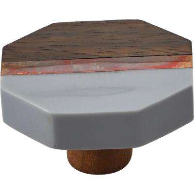 Lakewood 1-3/5 in. Octagon Grey and Wood Cabinet Knob