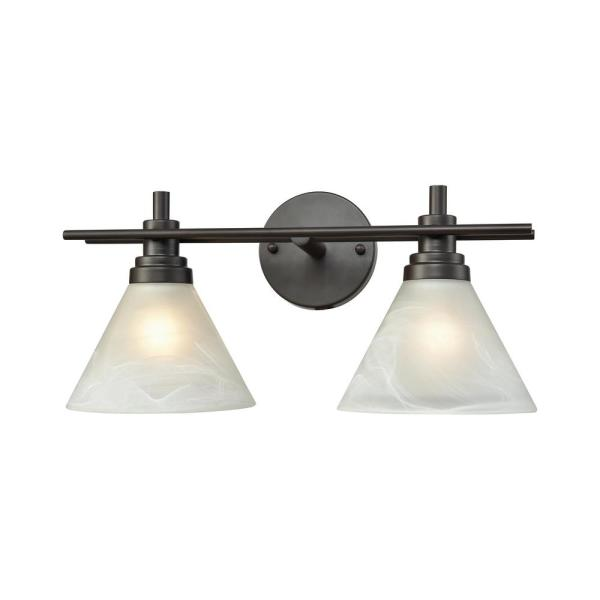 Pemberton 2-Light Oil Rubbed Bronze with White Marbleized Glass Bath Light