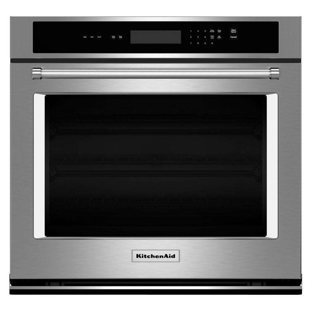 KitchenAid 27 In. Single Electric Wall Oven, Self Cleaning In Stainless  Steel