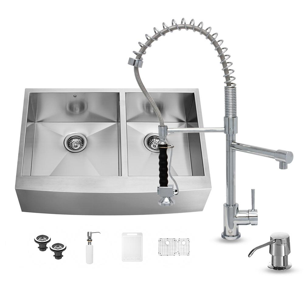 Vigo All In One Farmhouse Apron Front Stainless Steel 36 In 0 Hole Double Basin Kitchen Sink