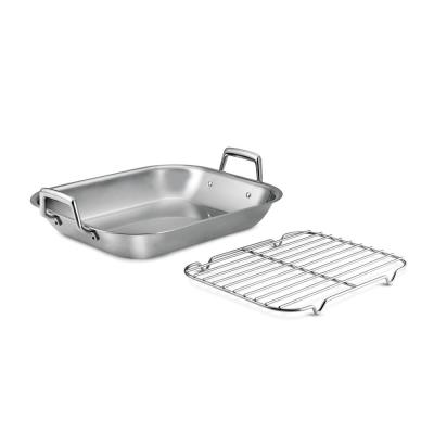 Gourmet Prima 7 Qt. Stainless Steel Roasting Pan with Basting Rack