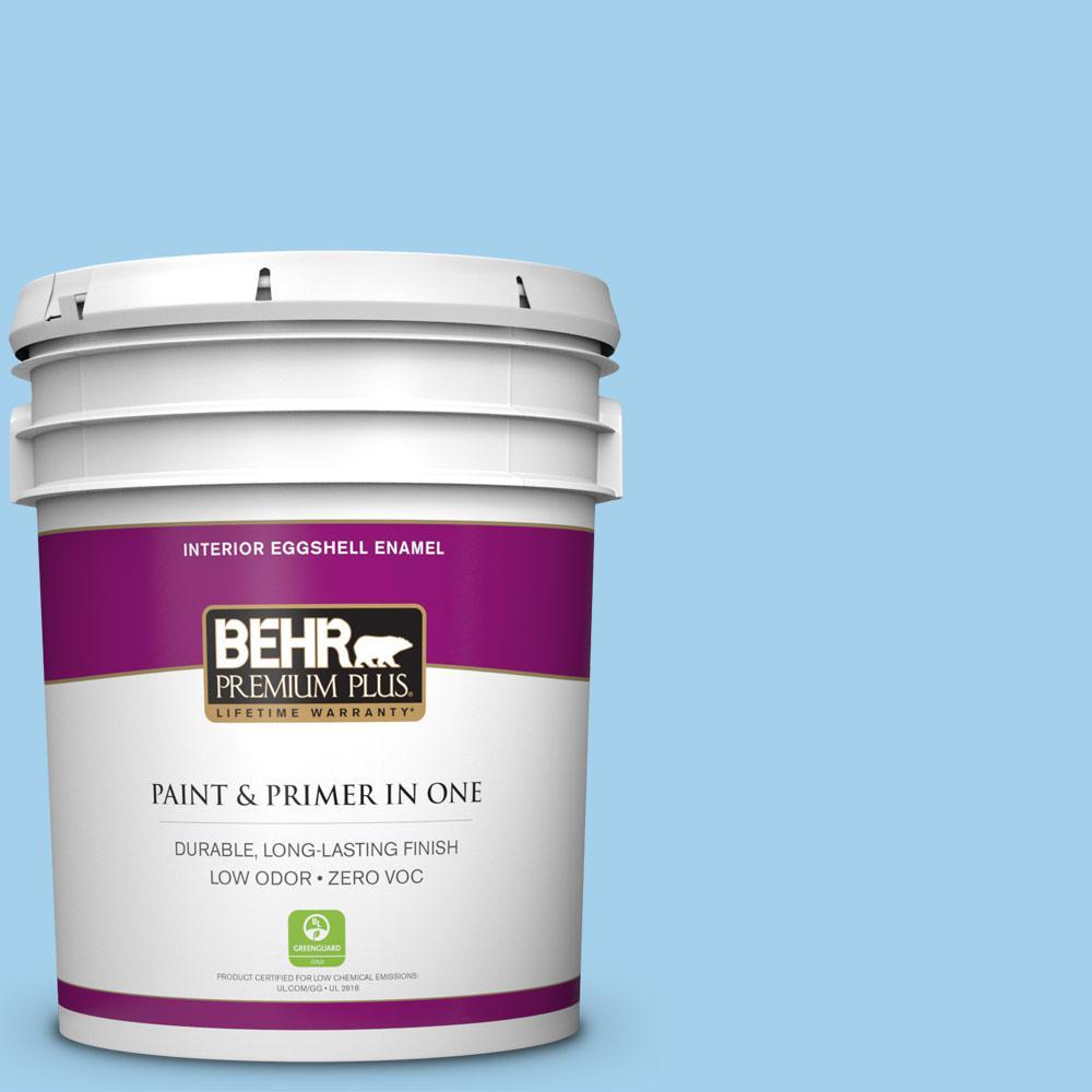 BEHR Premium Plus 5 gal. #550A-3 Little Pond Eggshell Enamel Zero VOC Interior Paint and Primer in One