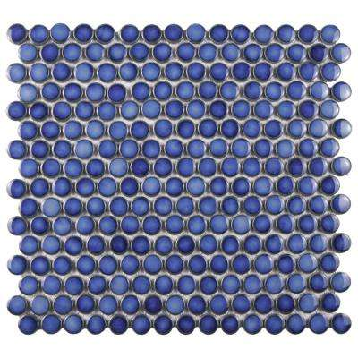 Hudson Penny Round Glossy Sapphire 12 in. x 12-5/8 in. x 5 mm Porcelain Mosaic Tile
