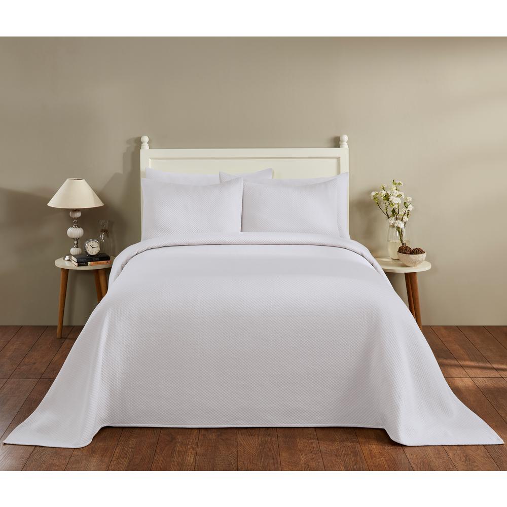 Sophia Collection in Diamond Design White Queen Cotton Blend Matelasse Weave Bedspread
