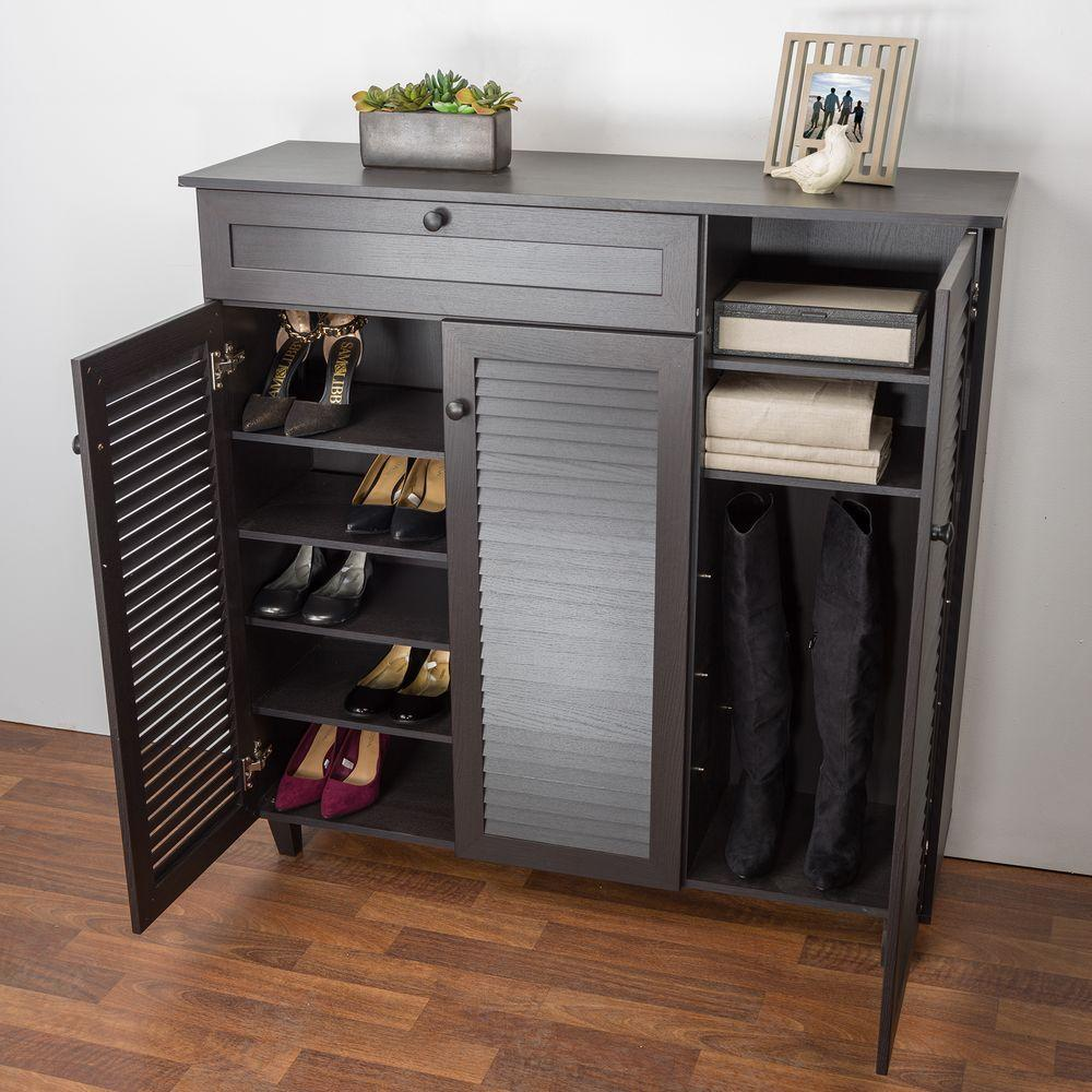 Dark Brown Wood Shoe Storage Cabinet