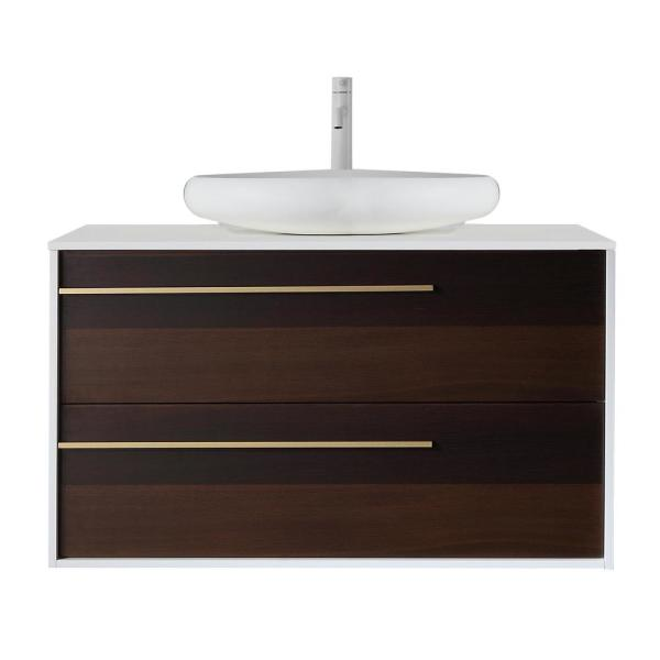 42 in. W x 20 in. D Vanity in Smoke Gray with Acrylic Vanity Top in White with White Basin