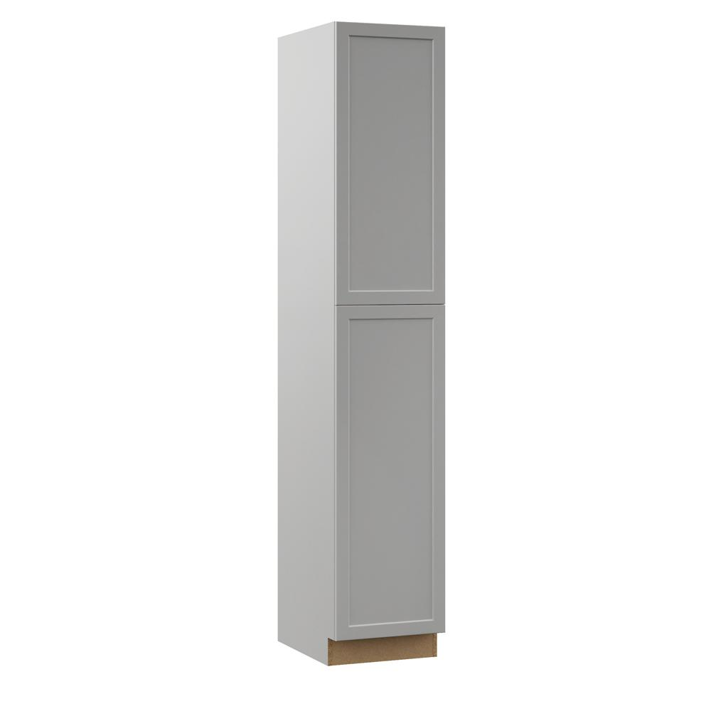Hampton Bay Designer Series Melvern Assembled 18x96x23.75 in. Pantry Kitchen Cabinet in Heron ...