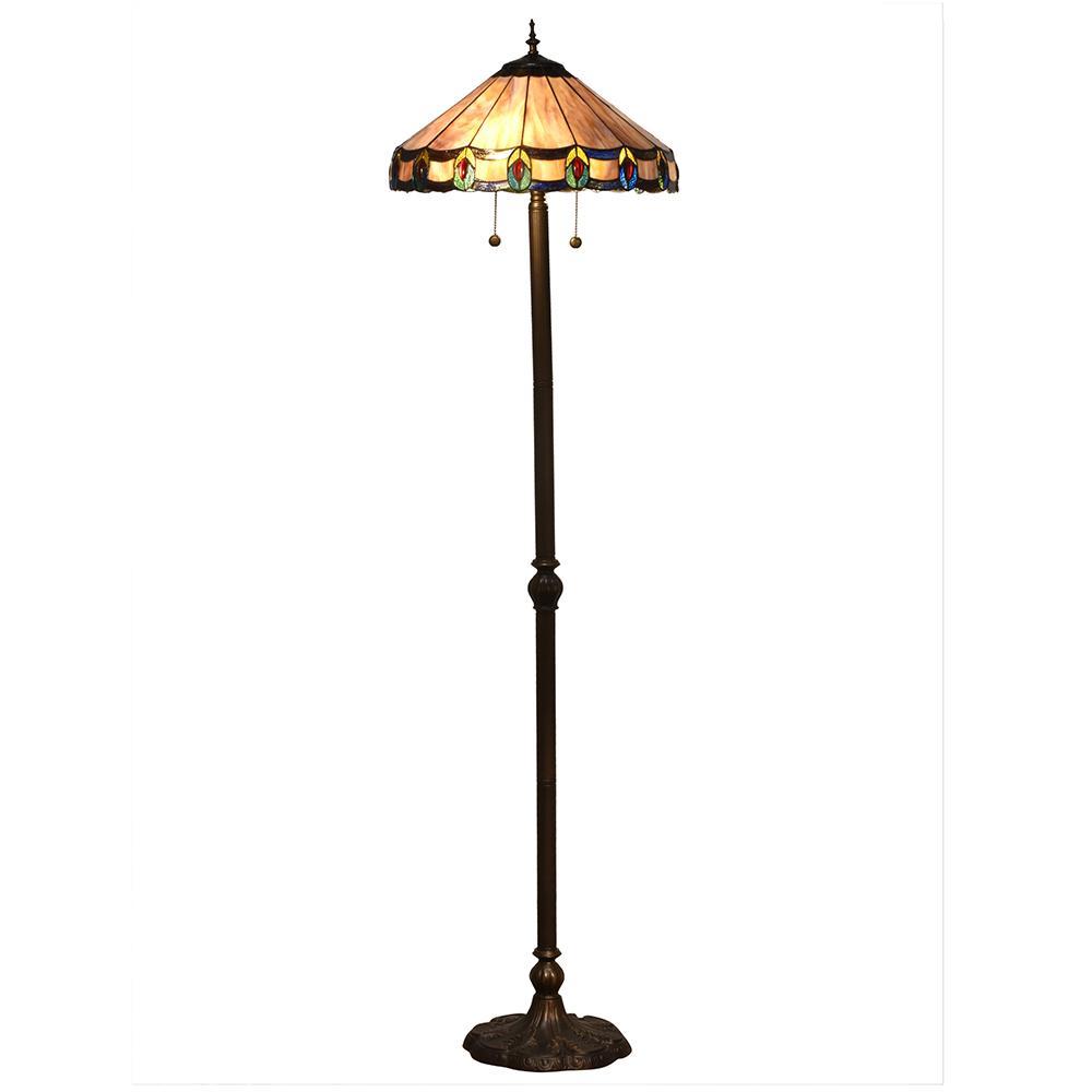 65.5 in Townsville Indoor 2-Light Antique Bronze Floor Lamp with Tiffany