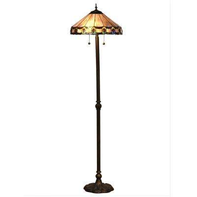 65.5 in Townsville Indoor 2-Light Antique Bronze Floor Lamp with Tiffany Art Glass Shade