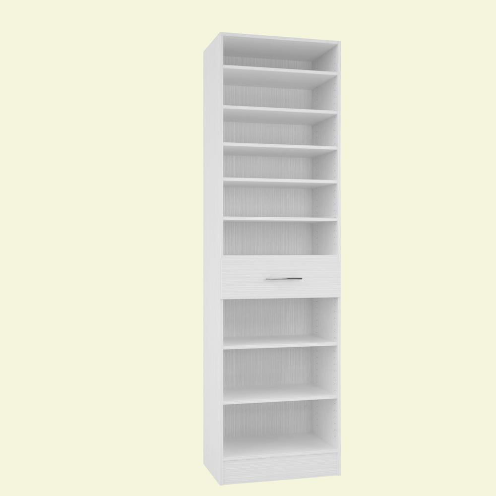 Home Decorators Collection 15 in. D x 24 in. W x 84 in. H Calabria Glacier White Melamine with 9-Shelves and Drawer Closet System Kit