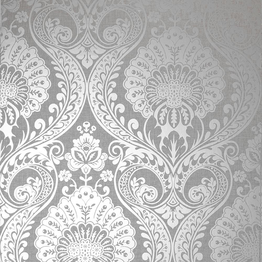 Luxe Damask Silver Wallpaper