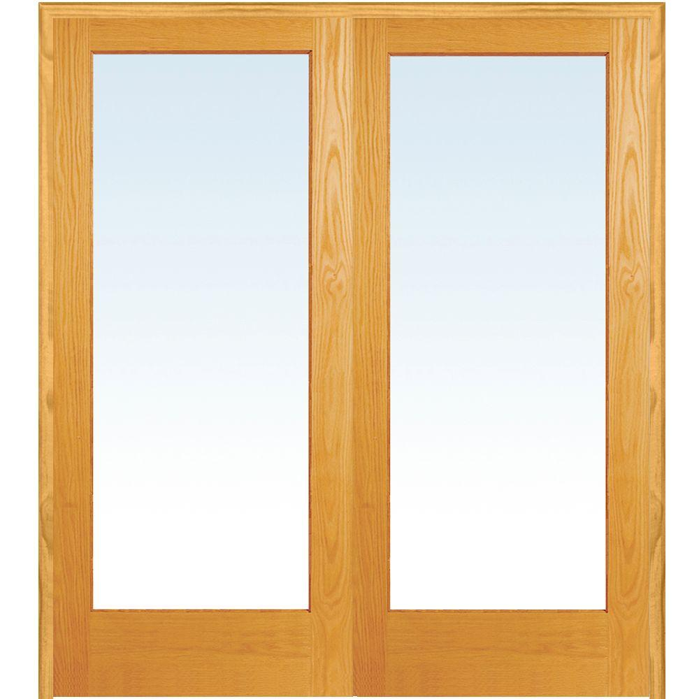 Exceptionnel Both Active Unfinished Pine Wood Full Lite Clear Prehung Interior French  Door
