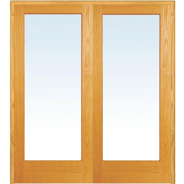 72 in. x 80 in. Both Active Unfinished Pine Wood Full Lite Clear Prehung Interior French Door