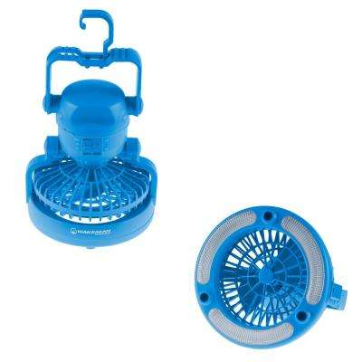 Portable 2-in-1 LED Camping Lantern with Ceiling Fan in Blue
