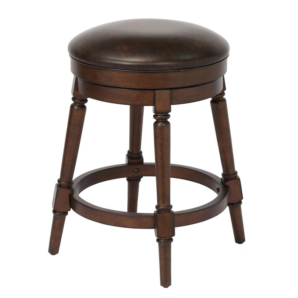 Craft Main Hayden 24 In Walnut Counter Height Swivel Bar Stool