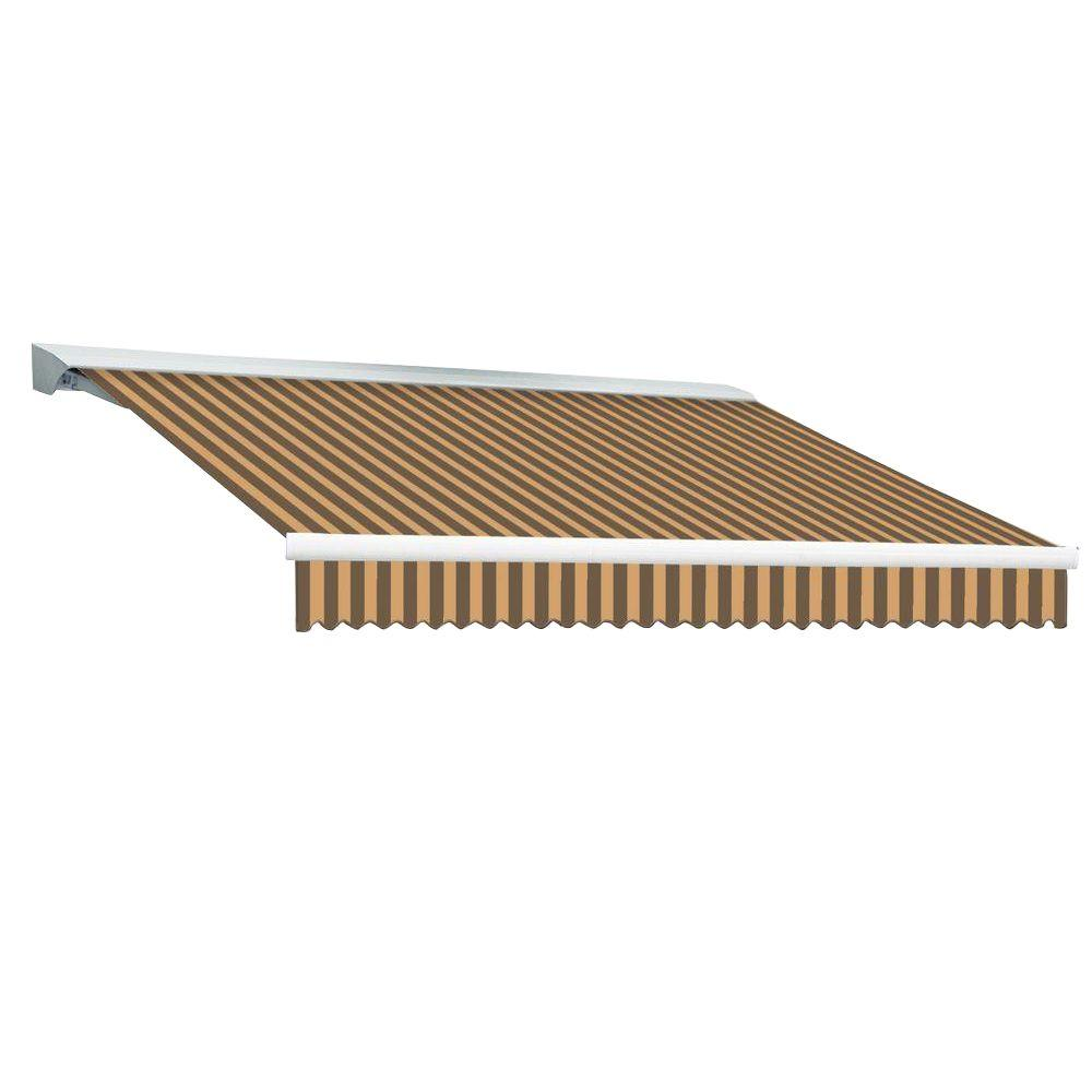 Beauty-Mark 8 ft. DESTIN EX Model Left Motor Retractable with Hood Awning (84 in. Projection) in Brown and Tan Stripe