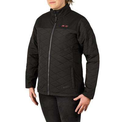 46014c75 Women's Large M12 12-Volt Lithium-Ion Cordless AXIS Black Heated Quilted  Jacket Kit with (1) 2.0Ah Battery and Charger