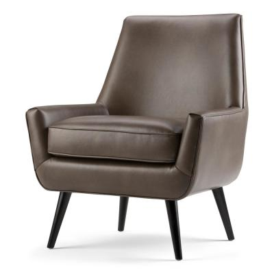 Warhol 30 in. Wide Mid Century Modern Accent Chair in Warm Grey Faux Air Leather