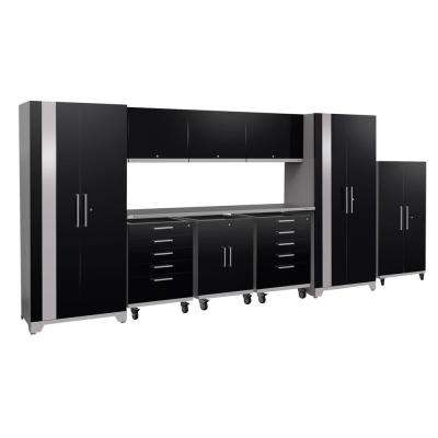 Performance Plus 2.0 80 in. H x 189 in. W x 24 in. D Steel Garage Cabinet Set in Black (10-Piece)