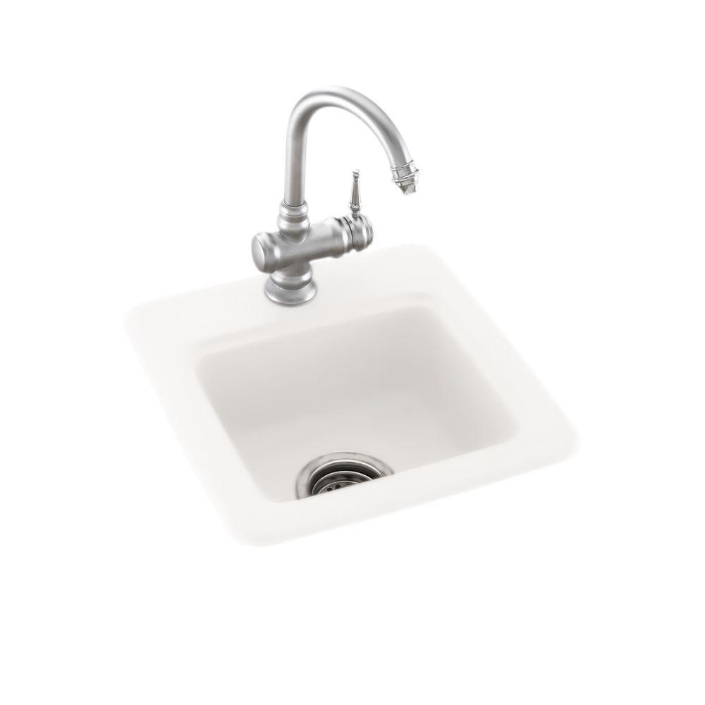 Swan Dual Mount Composite 15 In 1 Hole Bar Sink In White