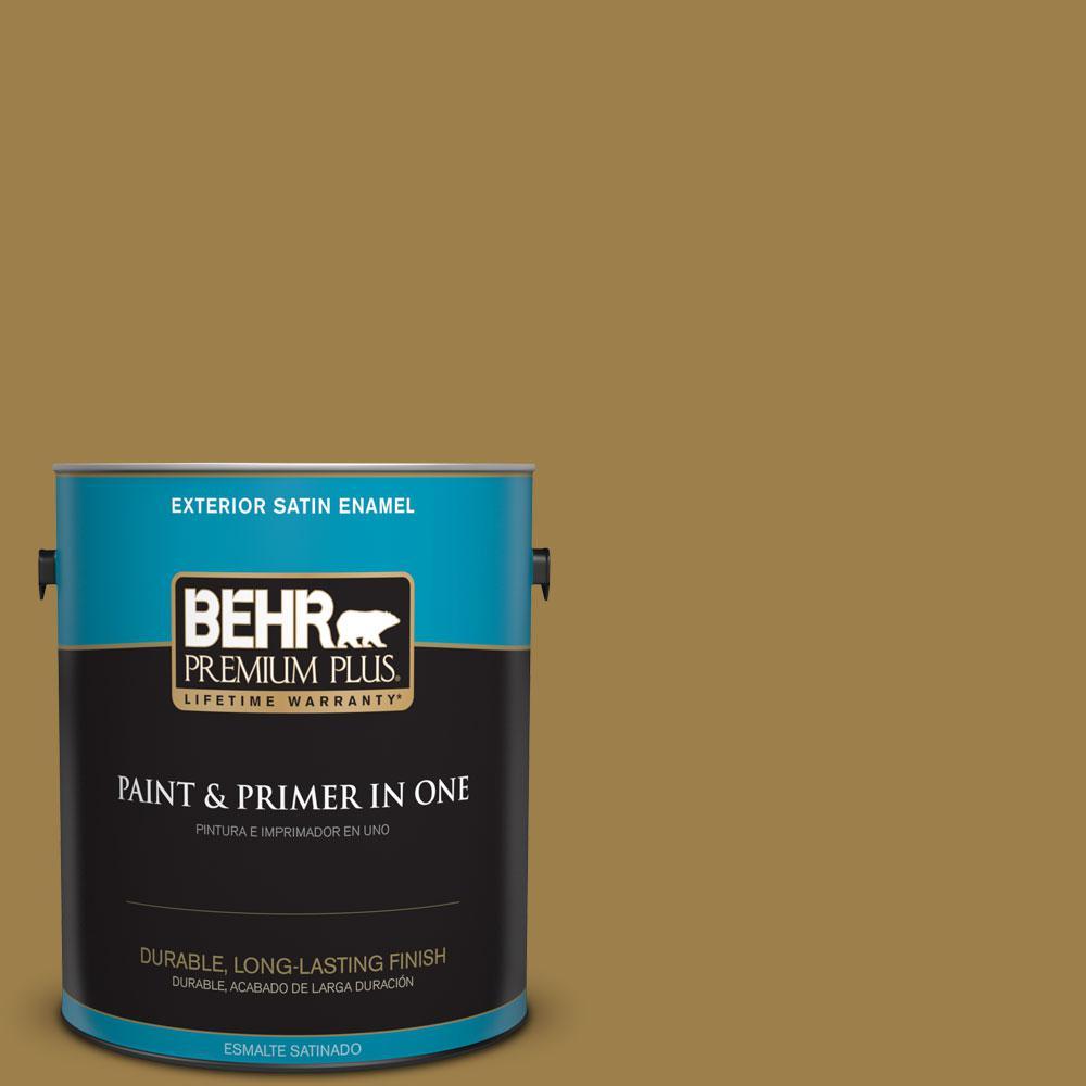 BEHR Premium Plus 1-gal. #S310-6 Gold Ink Satin Enamel Exterior Paint