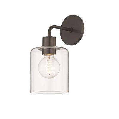 Neko 1-Light Old Bronze Wall Sconce with Clear Glass