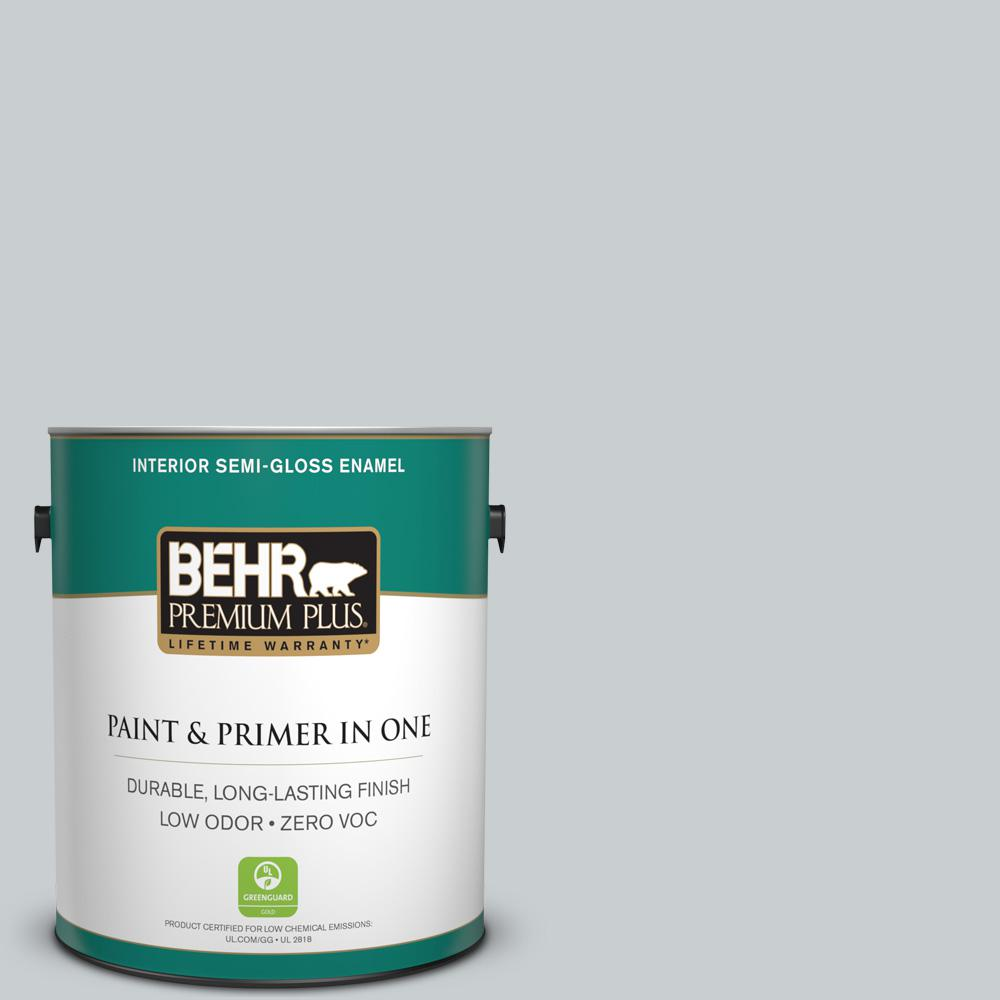 1-gal. #760E-2 Manhattan Mist Zero VOC Semi-Gloss Enamel Interior Paint
