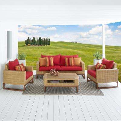 Mili 4-Piece Wicker Patio Conversation Deep Seating Set with Sunbrella Sunset Red Cushions
