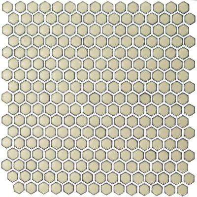 Bliss Edged Hexagon Polished Khaki Ceramic Mosaic Floor and Wall Tile - 3 in. x 6 in. Tile Sample