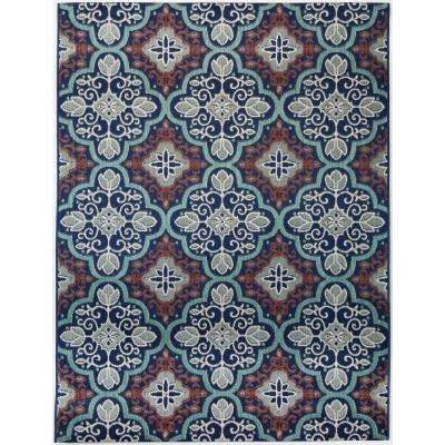 Star Moroccan Navy Teal 7 ft. 10 in. x 9 ft. 10 in. Indoor/Outdoor Area Rug