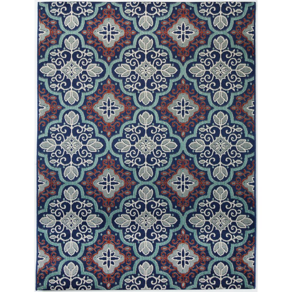 Hampton Bay Star Moroccan Navy Teal 9 ft. 2 in. x 12 ft. Indoor/Outdoor Area Rug