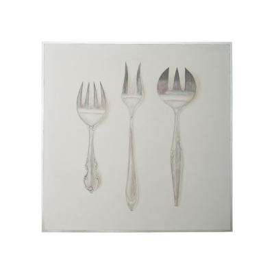 "50 in. x 50 in. ""Silver Service"" Hand Painted Framed Canvas Wall Art"