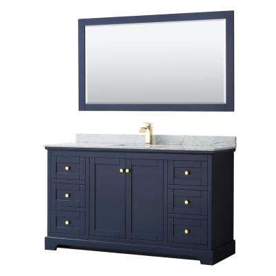 Avery 60 in. W x 22 in. D Bath Vanity in Dark Blue with Marble Vanity Top in White Carrara with White Basin and Mirror
