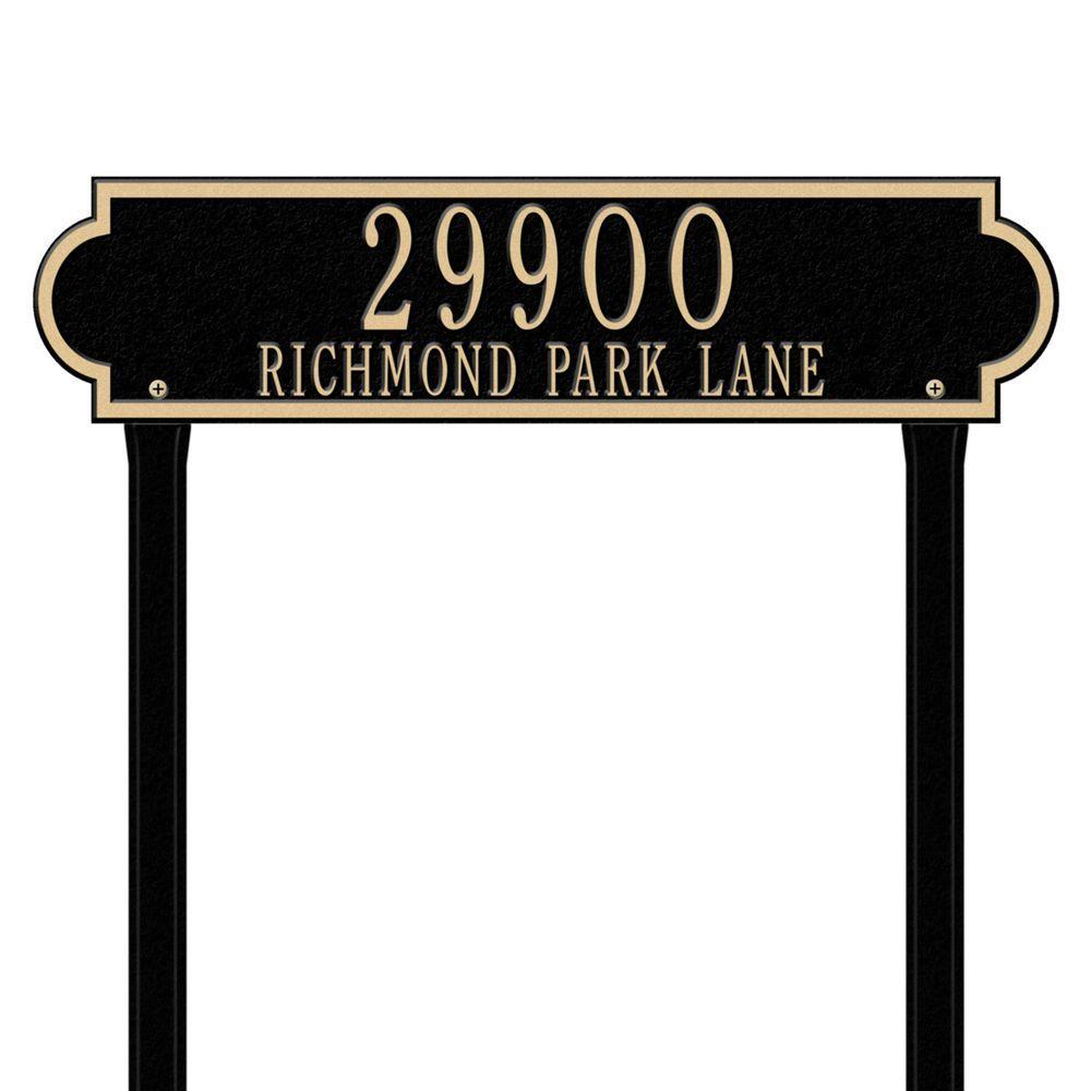 Richmond Rectangular Black/Gold Estate Lawn Two Line Horizontal Address Plaque