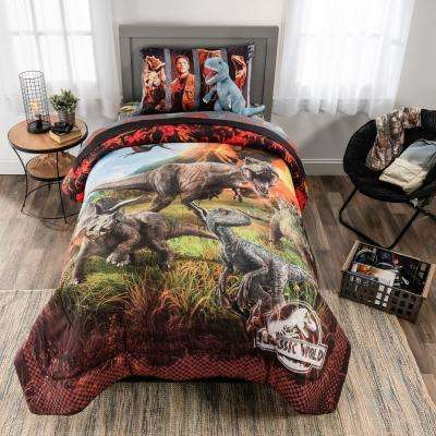 """5-Piece Jurassic World Fallen Kingdom """"Eruption"""" Twin Size Bed in a Bag with Cuddle Pillow"""