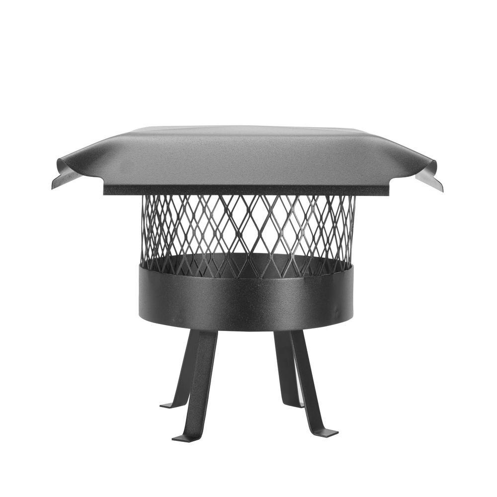 10 in. Round Slip-In Welded Leg Single Flue Chimney Cap in Black Galvanized Steel