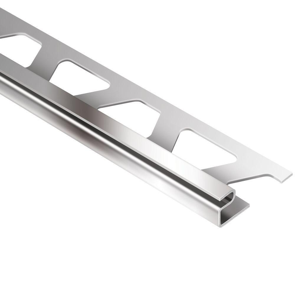 Schluter Deco Stainless Steel 3/8 in. x 8 ft. 2-1/2 in. Metal Tile Edging Trim
