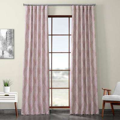 Istanbul Pink Printed Linen Textured Blackout Curtain - 50 in. W x 120 in. L (1-Panel)