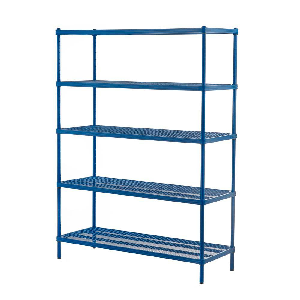 MeshWorks 5-Shelf Metal Petrol Blue Freestanding Shelving Unit