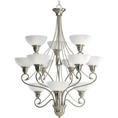 Pavilion Collection 12-Light Brushed Nickel Chandelier with Shade